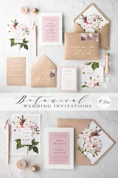 Floral botanical wedding invitations. Completely personalize any design with your own colors, fonts, and wording! Fully assembled - just $4,80 for entire set.  Perfect idea for a romantic and delicate bride  #handmade