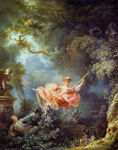 The Swing, Fragonard (1767). Marie Antoinette's Garden During Spring - French Californian