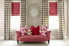 Love the checked drapes and pink shades Budget Blinds of Madison Pretty In Pink, Drapes Curtains, Drapery, Valances, Gingham Curtains, Check Curtains, Curtain Panels, Budget Blinds, Custom Window Treatments