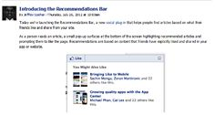 #Facebook recently introduced the Facebook #Recommendations #Bar—which is different from the Facebook Recommendations Box—and the Like Button and the Like Box.    But what are the differences and how do you decide what will work best for you? And then how do you install them?