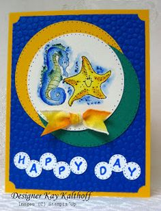 Stamping to Share: 10/13 Sun & Moon in the Sea Time to ....think outside the box. I didn't have a sun stamp, but I did have a star fish and the sun is a star, right? I thought the sea horse would make a nice moon and that's how this card got its start. I used lots of circle in this card based on the shape of the inspiration piece and because bubbles are round.