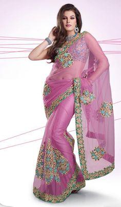G3Fashions Pink Net Wedding Wear Designer Saree  Product Code : G3-LS10848 Price : INR RS 6232
