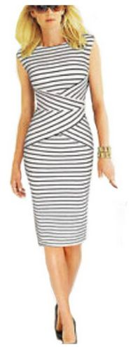 This is such a pretty, modest dress! Summer Striped Pencil Dress
