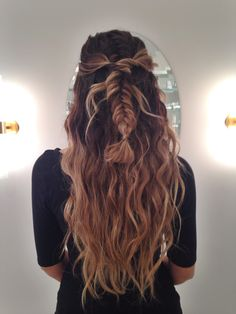 Long boho hair, texturized beach waves with a half-up half-down fishtail braid