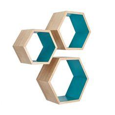 Nesting Hexagon Shelves with Teal Insides