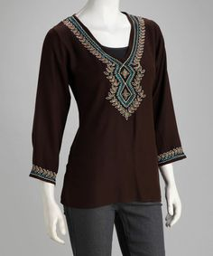 Take a look at this Luv2Luv Dark Brown Tribal Tunic by Luv2Luv & BHAG'S BOHO on #zulily today!