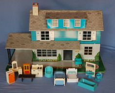 Vintage Marx Tin Litho Doll House w/ Furniture 1950's or 60's #Marx