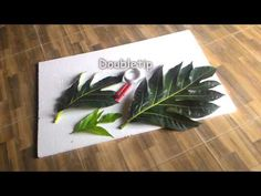 DIY Painting - Cat dinding motif daun - Paint leaf pattern - YouTube