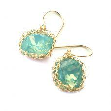 Dangle ocean green swarovski earrings  #winboticca