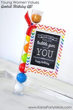 Young Women Values Gumball Birthday GIFT IDEA! Click for tag and tubes! Via Karas Party Ideas KarasPartyIdeas.com