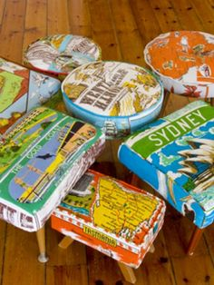 Vintage tea towels made into foot stools - I wish I could find the original source for these.  They'd also be lovely as pillows!