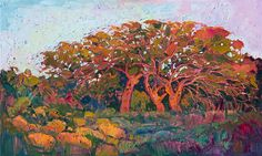 Red Oak Light - Modern Impressionism | Contemporary Landscape Oil Paintings for Sale by Erin Hanson