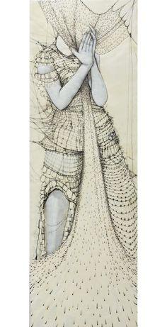 art by Portland, Oregon artist Andrea Benson. Japanese Paper, Human Emotions, American Artists, Illustration Art, Illustrations, Textile Art, Blessing, Art Inspo, Fashion Art
