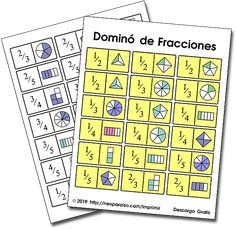 Practice fractions with this version of the classic Dominoes game. Fraction Games For Kids, Free Math Games, Fraction Activities, Mathematics Games, Pen And Paper Games, Printable Board Games, Math Graphic Organizers, Math Word Problems, Math Fractions