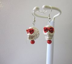 Day of The Dead Jewelry White Red Eyes Sugar by sweetie2sweetie, $7.49