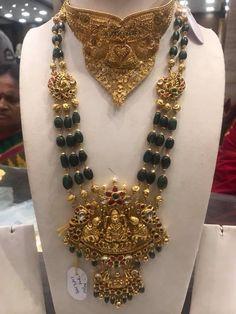 95 net gold *emarald* Haram . Beautiful emerald haaram with big Lakshmi devi locket. Long haaram studded with precious stones. 12 May 2018
