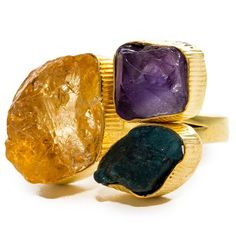 Gold-Plated Brass Amethyst, Apatite, Citrine Adjustable Ring https://sitaracollections.com/collections/handmade-rings/products/gold-plated-brass-amethyst-apatite-citrine-adjustable-ring