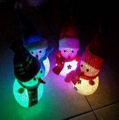Crystal Christmas Snowman Colorful Small Night Light Christmas Gift FREE SHIPPING