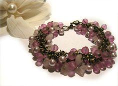 Beaded bracelet cluster bracelet charm by AutomatedButterfly