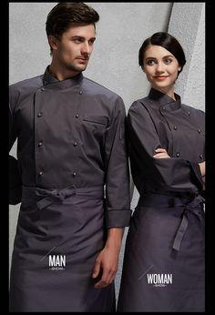 Klassischer beliebter Chefkochmantel in guter Qualität im Unisex-Design Cafe Uniform, Waiter Uniform, Hotel Uniform, Restaurant Aprons, Restaurant Uniforms, Chef Dress, Chef Shirts, Work Uniforms, Uniform Design