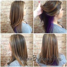 Peekaboo hair color new hairstyle . Hidden Hair Color, Cool Hair Color, Peekaboo Hair Colors, Purple Peekaboo Highlights, Underlights Hair, Purple Hair, Violet Hair, Burgundy Hair, Pink Purple