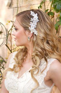 "Wedding Hair Down. Bridal Lace Headpiece - ""Adele Headpiece"""