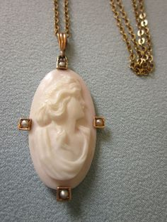 Victorian 10K Elongated Carved Pale Pink Shell Cameo With Seed Pearls, With…