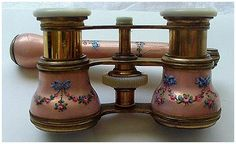 Antique Enameled Opera Glasses with Handle