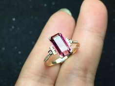 Pink Tourmaline Engagement Ring by MissIrisJewelry on Etsy Pink Diamond Ring, Pink Ring, Pink Tourmaline Ring, Watermelon Tourmaline, Jewelry Rings, Fine Jewelry, Jewellery, Ring Earrings, Ring Designs