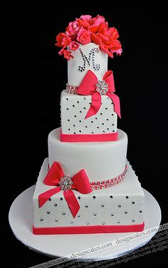 wedding cake    #WeddingCakes #Weddings Pretty pop of color. love the sparkles too!