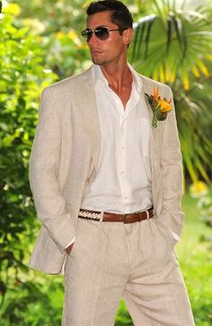 Delave' Linen Suit  Justlinen.com great look for warmer weddings in the tropics!