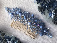 Hand made item. Materials: crystal beads blue tones, gold tones wire and comb Hair comb in blue tones decorated with crystal beads. 100% handmade. Special design. Ready to ship. More hair accessories here: https://www.etsy.com/shop/VelvetPlace?ref=pr_shop_more