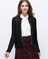 """Fringed Sweater Jacket - Fringe appeal: in a subtly sparkly weave, this soft and stitchy style is a couture-worthy can't-resist. Crew neck. Cuffed long sleeves. Exposed front zipper. 21 1/2"""" long."""