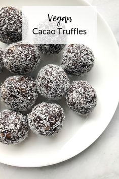 Vegan Cacao Truffles - Living Well With Nic Delicious Vegan Recipes, Healthy Dessert Recipes, Vegan Snacks, Clean Eating Recipes, Healthy Desserts, Real Food Recipes, Delicious Desserts, Snack Recipes, Yummy Food