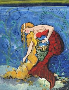 Pretty Golden Hair  Red Mermaid Seashell Collector  In the Sea Ocean Art print #Impressionism
