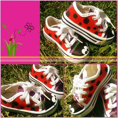 My new hand painted ladybug gym shoes. If you want a same pair, please write me a pm. Painted Shoes, Cute Little Girls, Minion, Ladybug, Vans, Hand Painted, Birthday, Sneakers, Crafts