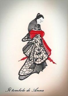 Photo : my work from a pattern by Michelle Pitts Oriental, Bobbin Lace Patterns, Embroidery, Albums, Anna, Pictures, Bobbin Lacemaking, Women, Geishas