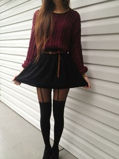 Knitted maroon sweater, long straight hair, black skirt, black shoes and cute tights