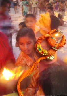 """Créoles Collection """"Escale en Inde..."""" (tangerine) : Boucles d'oreille par ploummauy"""