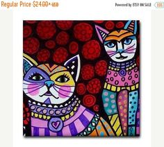 Cat art Tile Ceramic Coaster Mexican Folk Art Print of painting by Heather Galler
