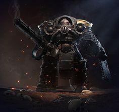 Iron Warriors legion terminator Warhammer fan art by Dmitriy Mironov Warhammer 40k Art, Warhammer Fantasy, Warhammer Models, Chaos Legion, Deathwatch, Battle Angel Alita, Future Soldier, Space Marine, Military Art