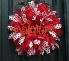Valentine Day Deco Mesh Wreath by TheWellDressedDoor on Etsy, $75.00