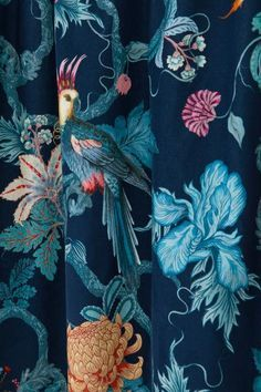 velvet curtain lengths - Dark blue/Floral - Home All Blue Floral Curtains, Dark Blue Curtains, Blue Velvet Curtains, Floral Bedroom, Colorful Curtains, Dark Blue Rooms, Dark Blue Living Room, Dark Blue Walls, Velvet Curtains Bedroom