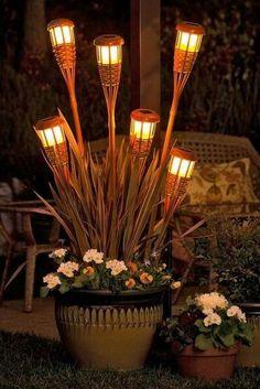 Bamboo solar lights in planter