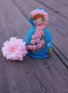 Matryoshka  Hand Embroidered Felt with Pink by TheSnowQueensGarden, $27.50