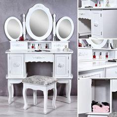 SEA45 - Un model special, pentru doamnele care se respecta http://www.emobili.ro/cumpara/sea45-set-masa-alba-toaleta-cosmetica-machiaj-oglinda-masuta-vanity-144 #eMobili