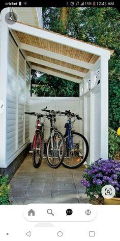 Outdoor Bike Storage, Outside Storage, Backyard Storage, Shed Storage, Workshop Storage, Storage Ideas, Outdoor Sheds, Outdoor Fire, Outdoor Spaces