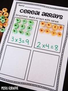 Fun array activities to do at home with cereal or any food to learn multiplication! Multiplication Activities, Algebra Activities, Array Multiplication, Math Math, Math Fractions, Math Games, 2nd Grade Activities, Math Graphic Organizers, Math Groups