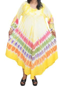 Mogul Dresses Yellow Tie Dye Long Sleeve Caftan Dress / Cover Up