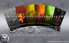 Game of thrones dividers for filofax, kikki.k...  https://www.etsy.com/it/listing/240383834/game-of-thrones-a5-personal-and-pocket